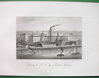 NEW YORK Clark's Spool Cotton Factory - 1876 Original Antique Print
