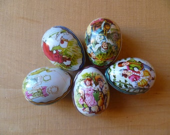 Vintage Design Ian Logan Swiss Made Tin Easter Eggs/ Set of 5