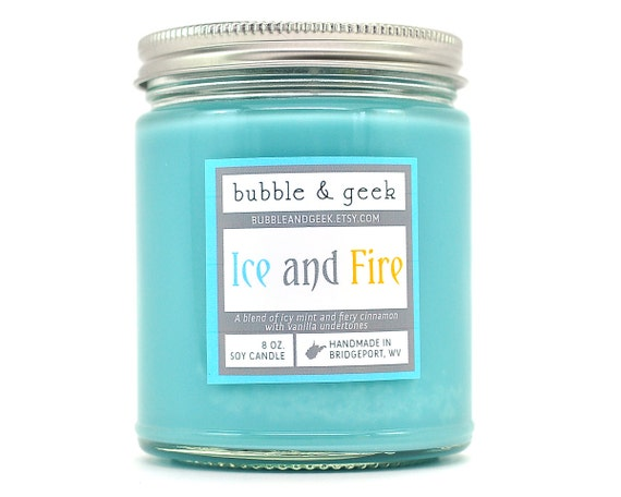 Ice and Fire Soy Candle jar - cinnamon, vanilla, mint