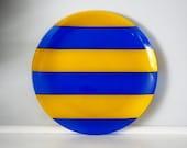 Vintage Dansk Dish/ Serving Platter Yellow Blue Stripes 1970's