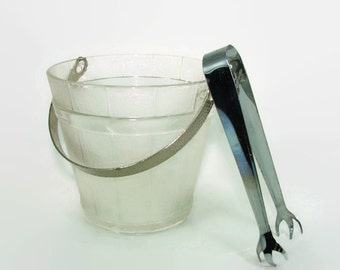 Clear Glass Wood Look Ice Bucket, Hammered Metal Handle and Chrome Tongs, Glass Barrel Ice Server