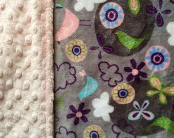 Minky Blanket Butterflies and Birds