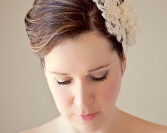 Wedding Lace Hairpiece with Silk Flowers Bridal Head Piece Wedding Hair Accessory Pearl Beaded Lace Haircomb Classic Wedding Headpiece