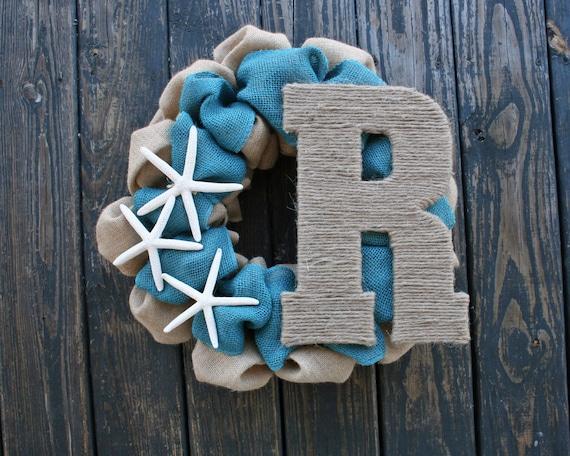 Wreath, Burlap Beach Wreath With Initial