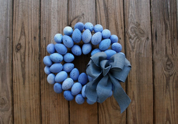 Easter Wreath, Blue Easter Egg Wreath, Egg Wreath