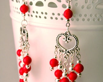 Valentine's Silver & Red Heart Dangle Earrings with Swarovski Crystals