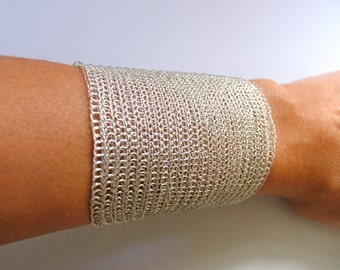 Adjustable silver cuff bracelet Handmade  cuff bracelet Wire crochet  bracelet  Extra wide cuff Metal silver  cuff