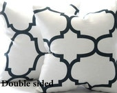 Fabric both sides, black white trellis geometric pillow cover, Natural white and jet black pillow,  24 x 24 throw pillow, accent pillow