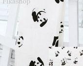 Yard - Black Panda in Wthie Ivory 100% Cotton - Fikashop