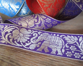TWO yards of elephant & lotus flower Indian sari trim in PURPLE and gold - 40mm wide. Other colours available. Elephant ribbon, sari ribbon