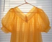 Bright Orange Sheer Robe, Mid Length, Size Medium, Retro Robe, Summer Robe