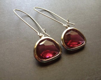 Silver Plated Pink Drop Earrings