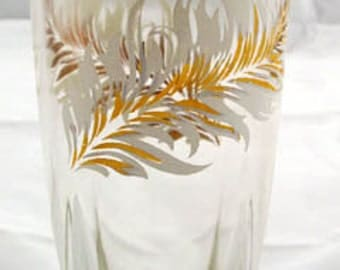 4 Square Bottom Glass Tumblers with White and Gold Feathers Vintage 1950s Set of Four