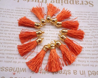 SALE--20pcs orange Silk/Satin Leather Tassels charms pendant, Ideal Accessories for DIY projects