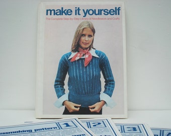 """Vintage """"Make It Yourself"""" Complete Step by Step Library of Needlework and Crafts How To Book"""