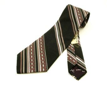 1970s Prince Igor Tie Mens Vintage Wide Black Textured Polyester Disco Era Necktie Prince Igor by Burma