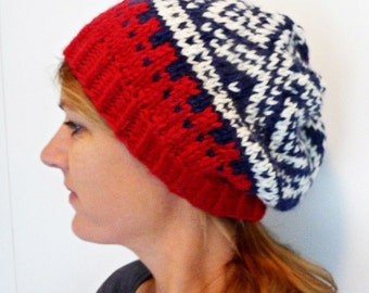 Women's Winter Hat, Norwegian Nordic Scandinavian Design, Warm Wool/Mohair in Red, Blue and White - Baggy & Chunky - Great Gift!