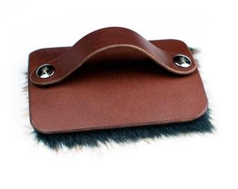 Petting Brush - Fur Pad - Hand of Praise - Brown Leather - Faux Fur - Mocha - Nickel Fasteners