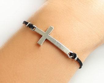 Cross bracelet, sideways cross bracelet, silver cross, christian catholic jewelry, black cord, best friend birthday gift, gift for her