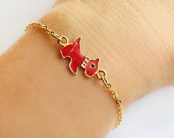 Dog bracelet, animal bracelet, pet bracelet, red dog, gold chain, dog charm, best friend gift, enameled dog
