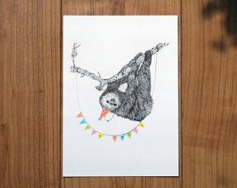 Sloth Party A5 print