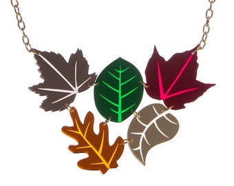 Autumn Leaves Cluster necklace - laser cut acrylic