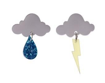 Cloud earrings - laser cut acrylic