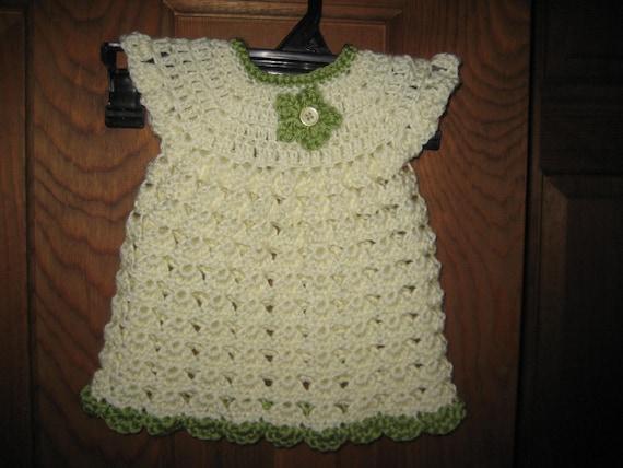 Crochet Cream & Green Baby Dress Free Shipping
