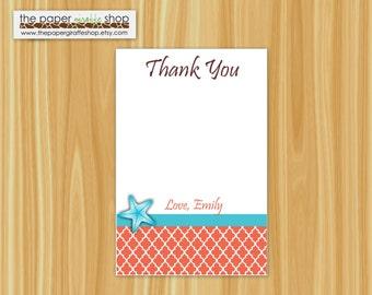 Custom Printable Starfish (Coral and Aqua) Thank You Card