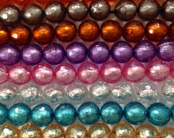 20mm round foil laced acrylic faceted beads, 18 beads, new gumball