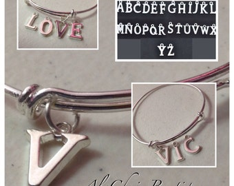 ADD ON ONLY - Personalize Add a Letter Charm to your Bangle Charm Bracelet and Gemstone Charm Bracelet from my shop