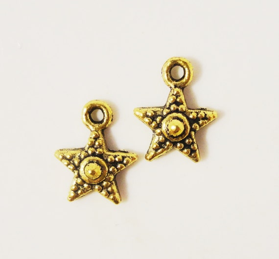 Gold Star Charms 12x10mm Antique Gold Tone Metal Alloy Small Celestial Star Charm Pendant Jewelry Findings 12pcs