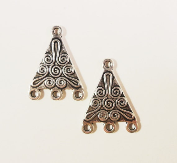 Silver Chandelier Earring Findings 21x16mm Antique Silver Metal Pyramid Triangle 3 to 1 Earring Connector Jewelry Making Findings 6pcs