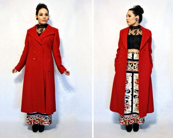 Vtg 70s- Red Wool Coat, full length wool coat, vintage pea coat, Red Coat, Double breasted with pockets, military coat, Stunning - Size M L