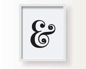 "SALE You & Me Ampersand -  8"" x 10"" Typography Art Print in Black and White - Home, Office, Gift, Wedding, Love, Romance, Couple, Family"