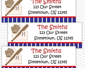 Baseball Sports - Personalized Address labels, Stickers