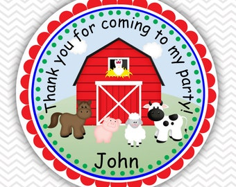Barn Yard Farm Animals - Personalized Stickers, Party Favor Tags, Thank You Tags, Gift Tags, Address labels, Birthday, Baby Shower