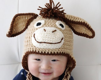 Donkey Hat, Crochet Baby Hat, Animal Baby Hat, photo prop