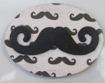 Black and White Mustache Decoupage Oval Wooden Magnet with Wood Mustache Embellishment