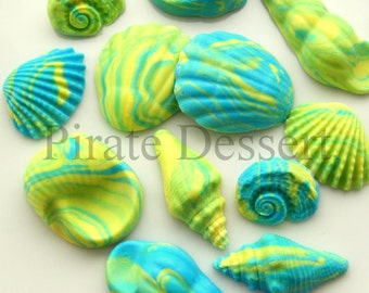 Cupcake toppers - YELLOW SEA SHELLS - Under the Sea Fondant Toppers - Assorted Size - Edible cake decorations (Yellow and Blue) (12 pieces)