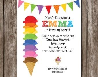 Rainbow Ice Cream Party Printable Birthday Invitation/Digital design