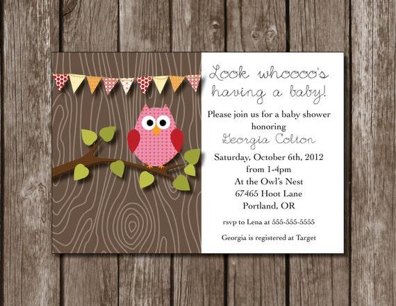 Owl Baby Shower Printable Invitation//Girl Baby Shower//Birthday//Digital File