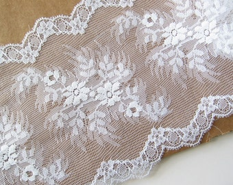 "2 yards wide white lace trim 5.5"" wide"