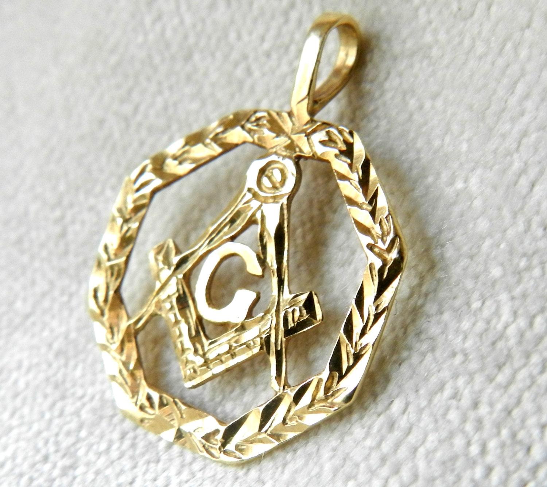 masonic jewelry 14k freemason pendant 14k by lovealwaysgalicia