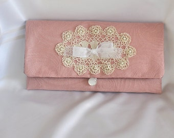JOY! Clutch, Small Purse, Handmade, Dusty Pink Damask & Beige Vintage Crochet, Upcycled, Repurposed, Vintage inspired, Cottage Chic, OOAK