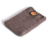 iPad mini case, iPad mini cover, iPad mini sleeve, brown, hand knitted