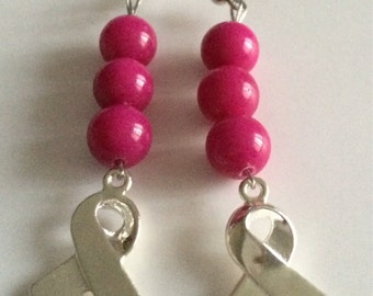 Fuschia Ribbon Breast Cancer Earrings