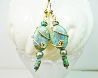 Wire Wrapped River Stone Earrings, River Stone and Turquoise Earrings, Dangle Turquoise Earrings