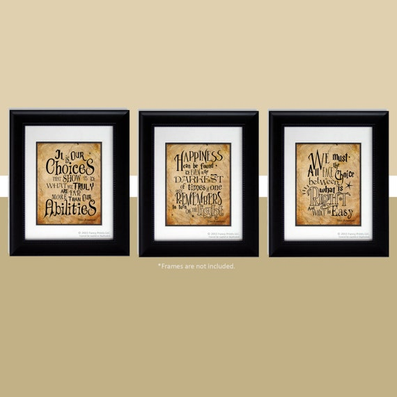 Harry Potter Quotes Albus Dumbledore Quotes Happiness Can Be Found We Must All Face Kids Room Harry Potter Inspired Print Christmas gift