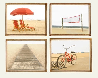 Beach -Set of 4 Photos - Summer Ocean Shore Sand Sea Coastal Coast Sunshine Red Yellow Sand Chairs Bike Umbrella Volleyball Photographs
